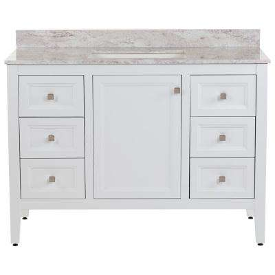 Darcy 49 in. W x 22 in. D Bath Vanity in White with Stone Effects Vanity Top in Winter Mist with White Sink