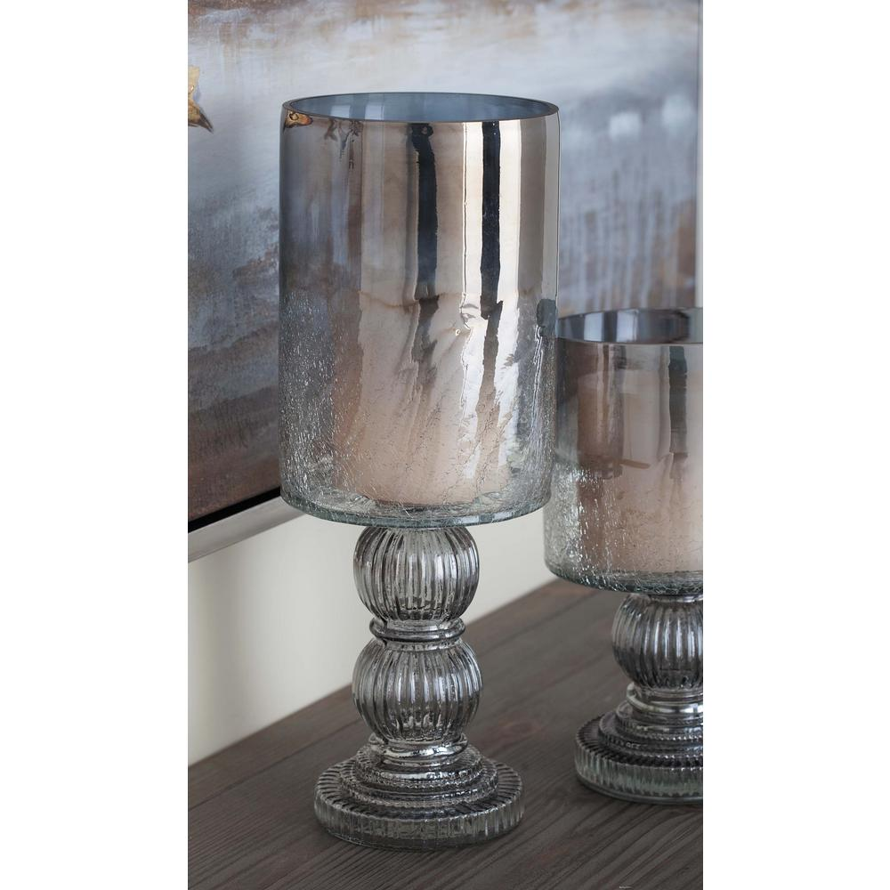 16 in. Smoked Black Cylindrical Glass Baluster Candle Holder
