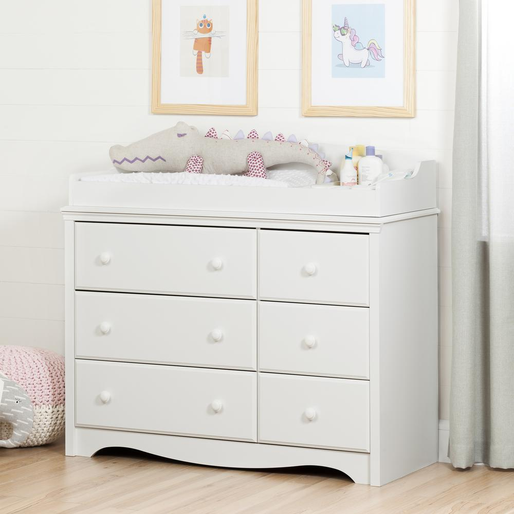 South S Angel 6 Drawer Pure White Changing Table
