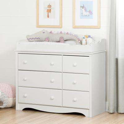 Angel 6-Drawer Pure White Changing Table