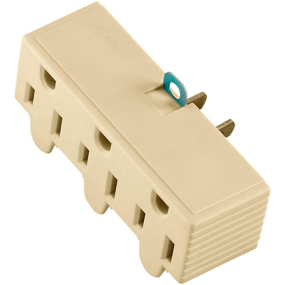 15 Amp 125-Volt 3-Outlet Grounding Adapter with Lug, Ivory
