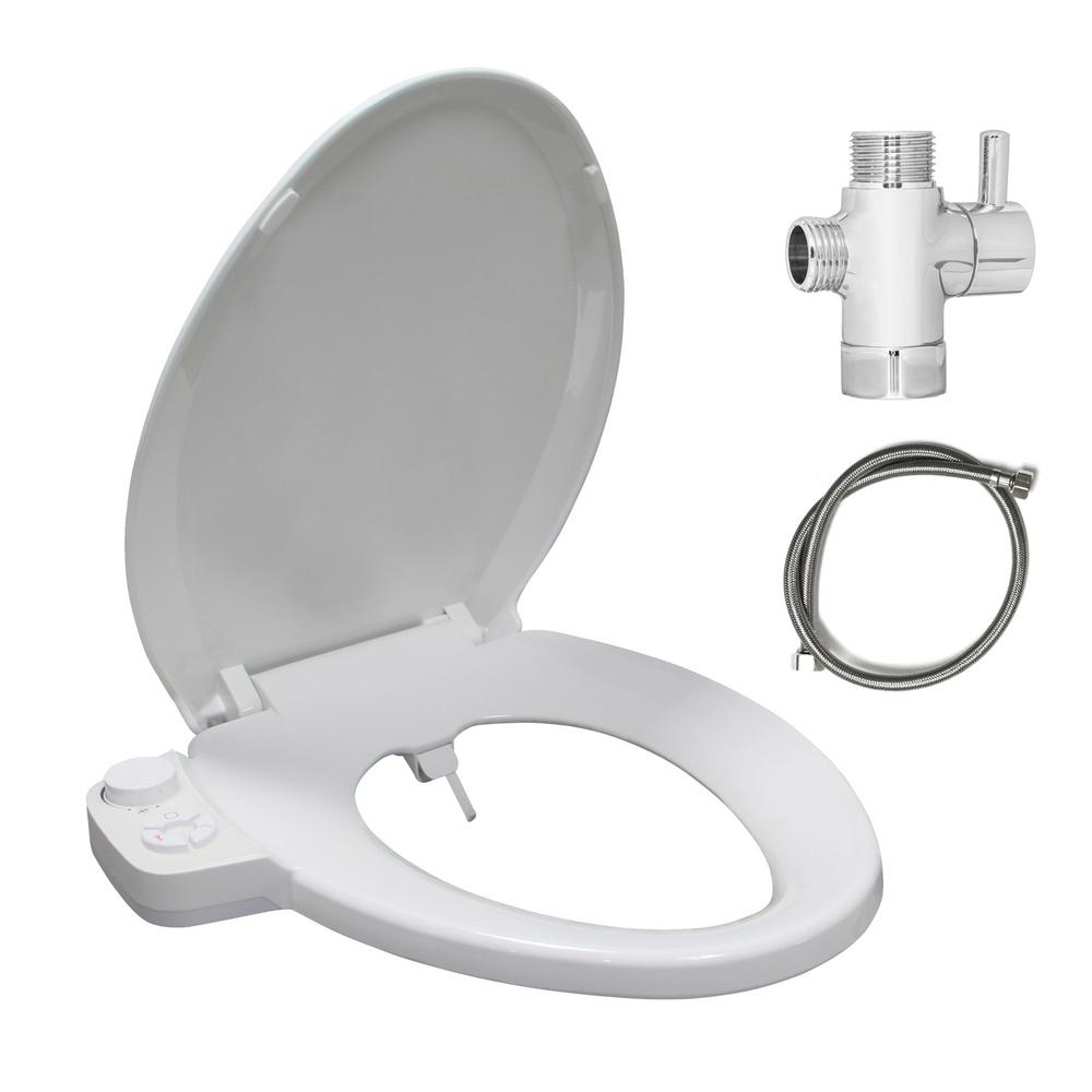 Emoderndecor Soft Close Hygienic Dual Nozzles Non Electric Bidet Elongated Toilet Seat In White With On Off Brass T Adapter Sino El V The Home Depot