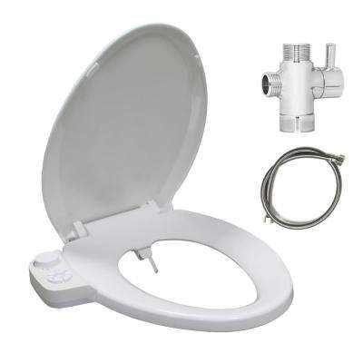 Soft Close Hygienic Dual Nozzles Non-Electric Bidet Elongated Toilet Seat in White with On/Off Brass T Adapter