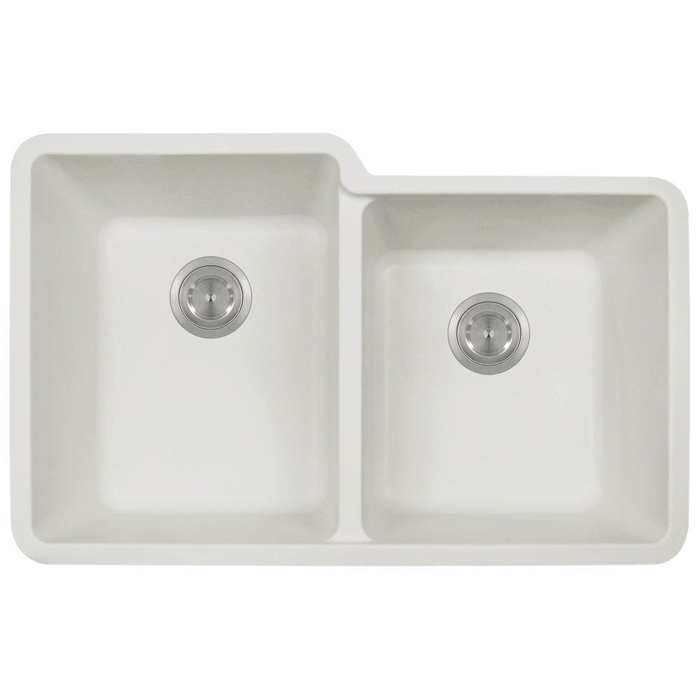 white double kitchen sink mr direct undermount granite composite 32 5 in 0 1291