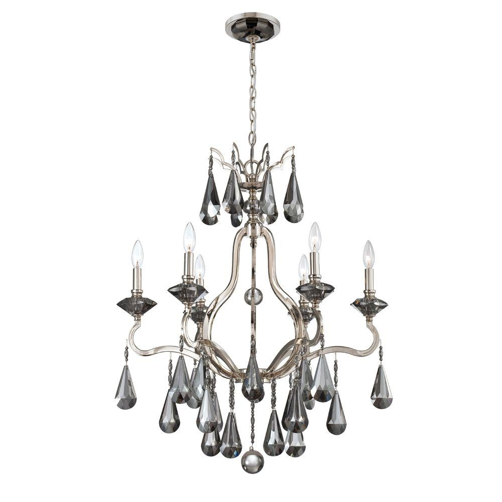 Eurofase Rosini Collection 6-Light Polished Nickel Chandelier-DISCONTINUED