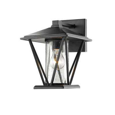 10.25 in. 1-Light Powder Coated Black Outdoor Wall Lantern Sconce with Glass Shade