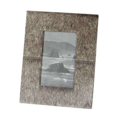 Faux Pony 1-Opening 4 in. x 6 in. Grey Faux Leather Picture Frame