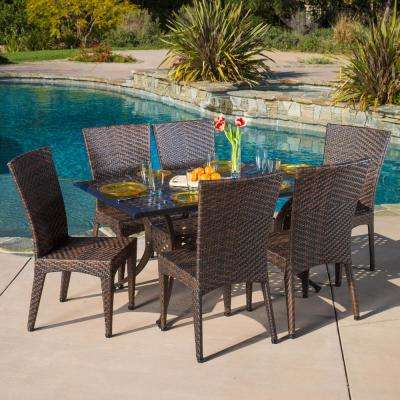 Brooke Bronze and Mix Brown 7-Piece Aluminum and Wicker Outdoor Dining Set