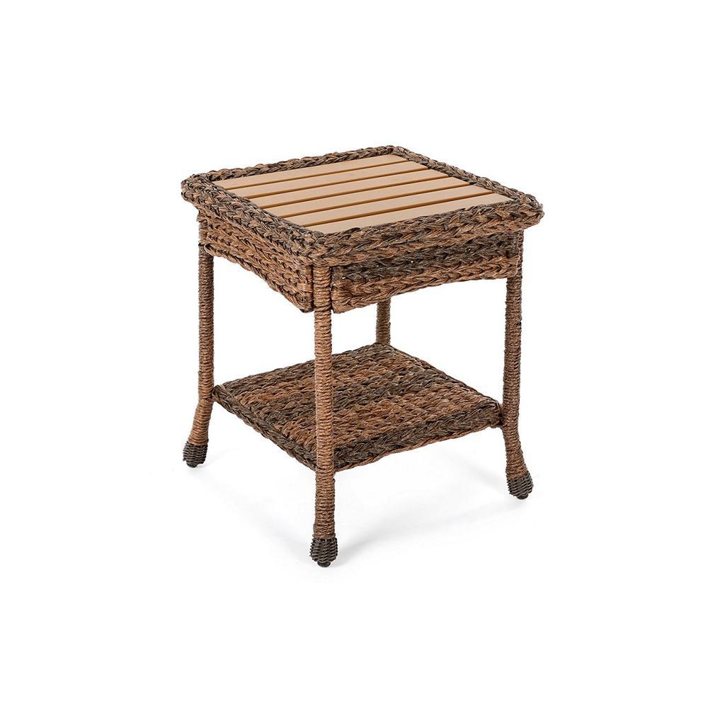 Rustic Wicker Outdoor Side Table