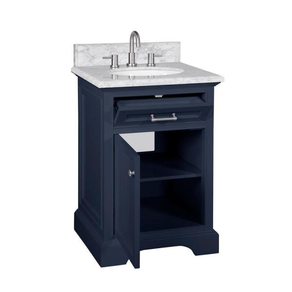 Home Decorators Collection Windlowe 25 In W X 22 In D X 35 In H Bath Vanity In Navy Blue With Carrara Marble Vanity Top In White With White Sink 15101 Vs24c Nb The