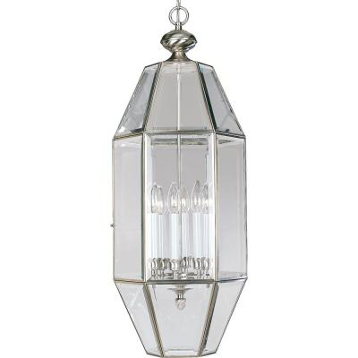 6-Light Brushed Nickel Foyer Pendant with Clear Beveled Glass