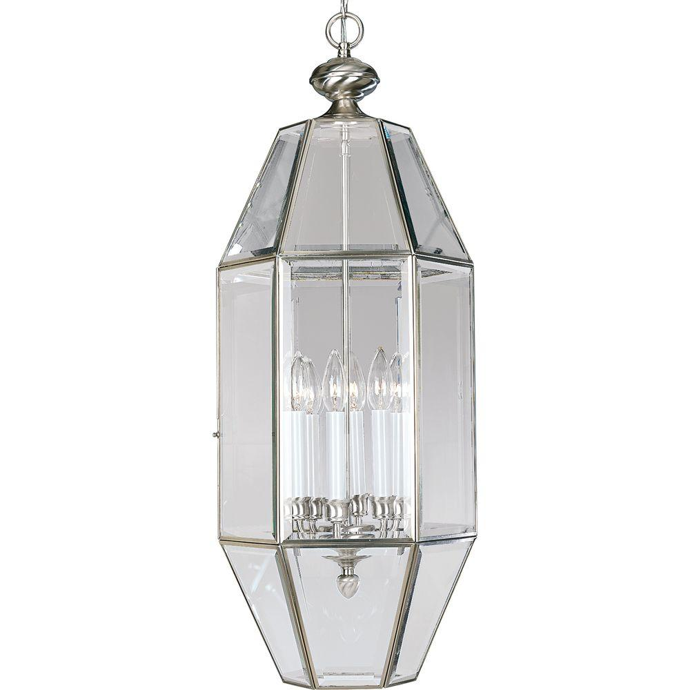 Progress Lighting 6 Light Brushed Nickel Foyer Pendant With Clear Beveled Glass