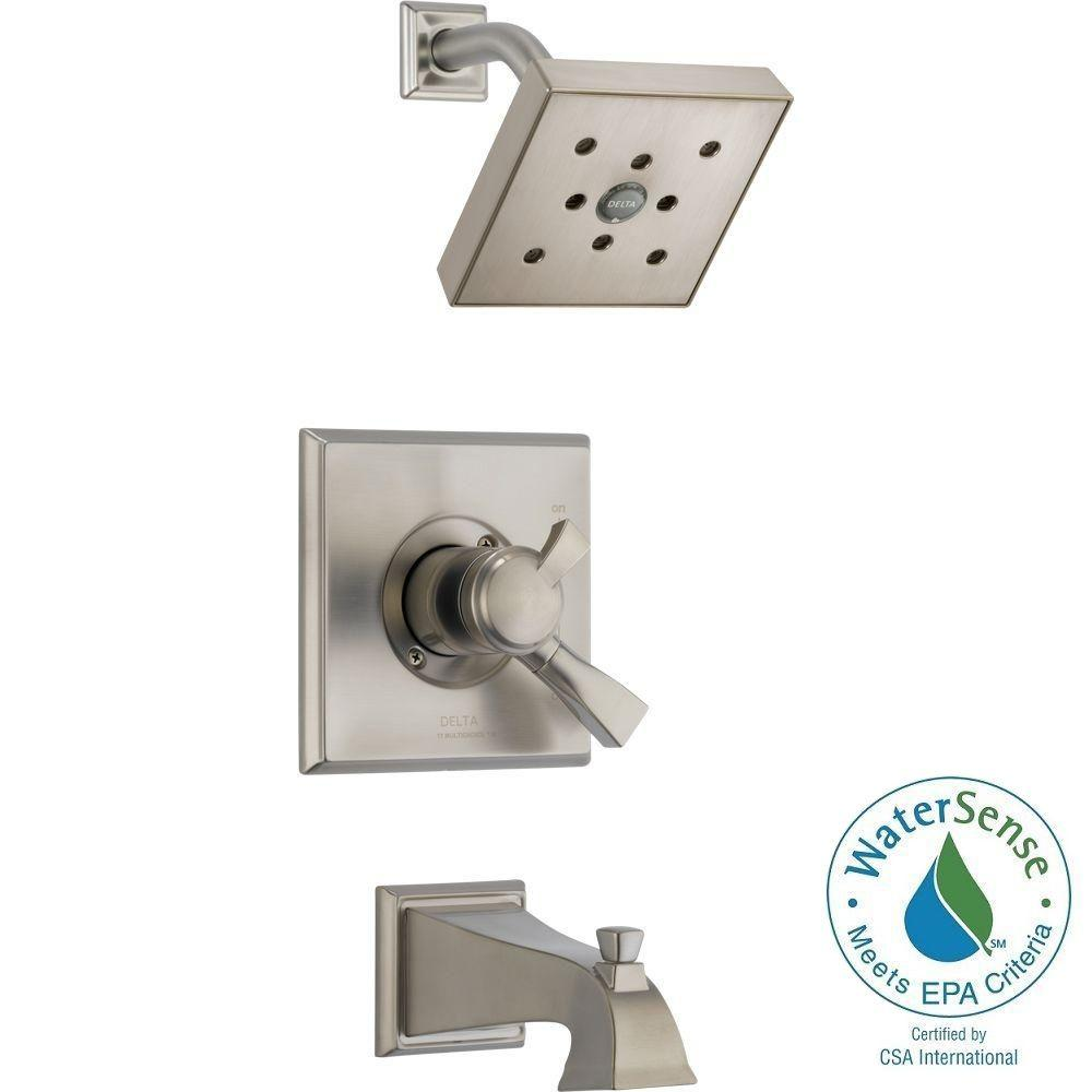 Dryden 1-Handle H2Okinetic Tub and Shower Faucet Trim Kit in Stainless