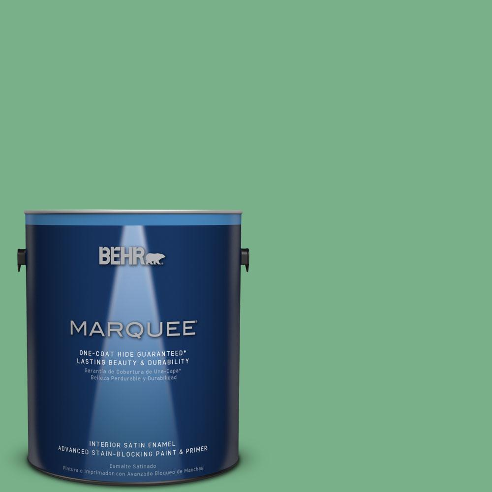 1 gal. #M410-5 Green Bank One-Coat Hide Satin Enamel Interior Paint