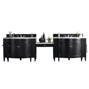 Brittany 122.50 in. W Double Bath Vanity in Black Onyx with Solid Surface Vanity Top in Arctic Fall with White Basin
