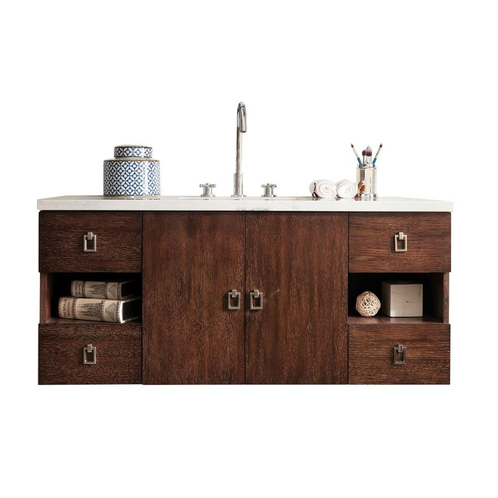 James Martin Vanities Sonoma 48 in. W Single Vanity in Coffee Oak with Solid Surface Vanity Top in Arctic Fall with White Basin