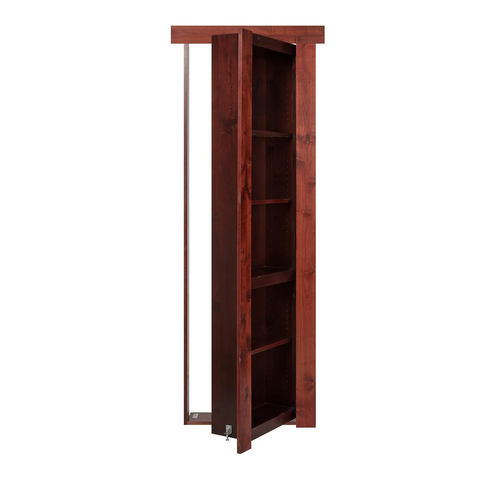 32 in. x 80 in. Flush Mount Assembled Alder Cherry Stained