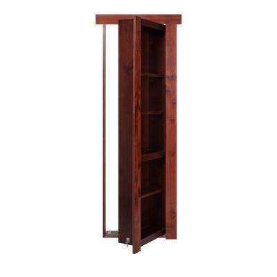36 in. x 80 in. Flush Mount Assembled Alder Cherry Stained Left Hand Out-Swing Solid Core Interior Bookcase Door
