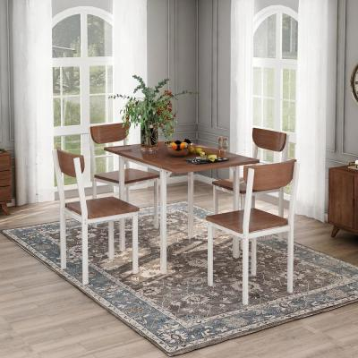 Walnut 5-piece Modern Metal Dining Set with 1-Drop Leaf Dining Table and 4-Chairs