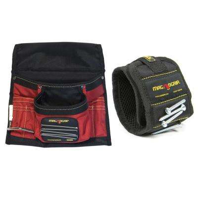 Magnetic Tool Pouch and Magnetic Wristband Set (2-Pack)