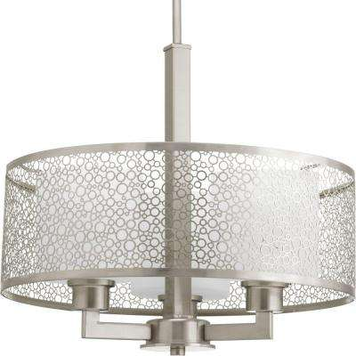 Mingle Collection 3-Light Brushed Nickel Pendant with Etched Parchment Glass