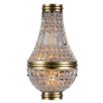 Stella 2-Light French Gold Royal Cut Crystal Wall Sconce