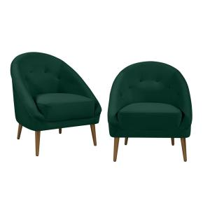 Outstanding Handy Living Lori Modern Emerald Green Velvet Fabric Barrel Bralicious Painted Fabric Chair Ideas Braliciousco
