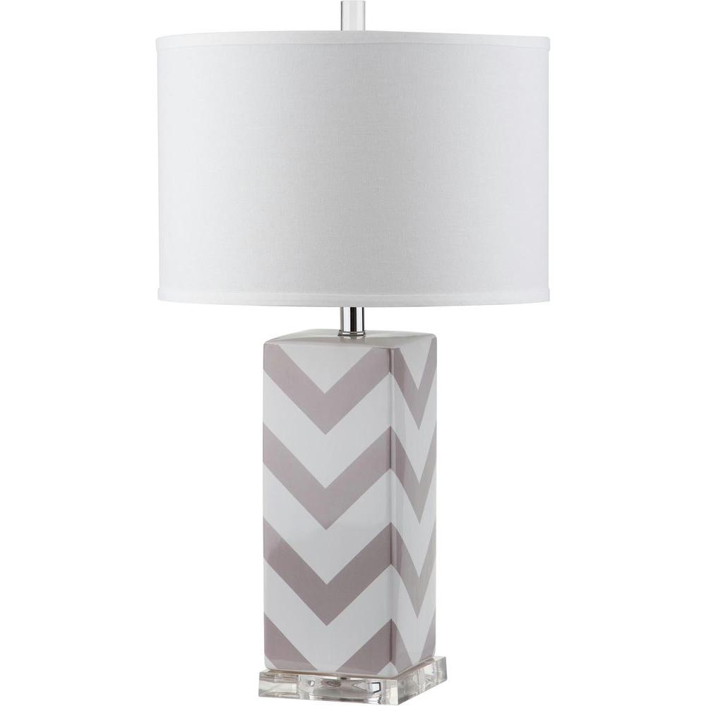 Chevron 27 in. Grey Stripe Table Lamp with White Shade