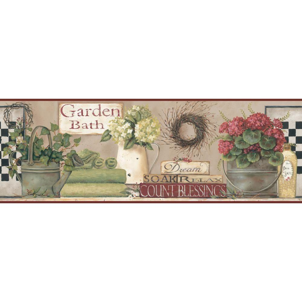 Inspired By Color Garden Bath Wallpaper Border