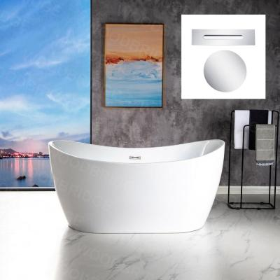 Beauvais 59 in. Acrylic FlatBottom Double Slipper Bathtub with Polished Chrome Overflow and Drain Included in White