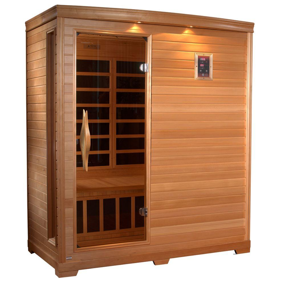 3-Person Far Infrared Healthy Living Carbon Sauna with Chromotherapy and