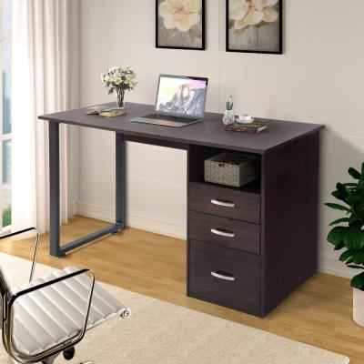 Simple Design Espresso Computer Desk with Cabinet and Drawers