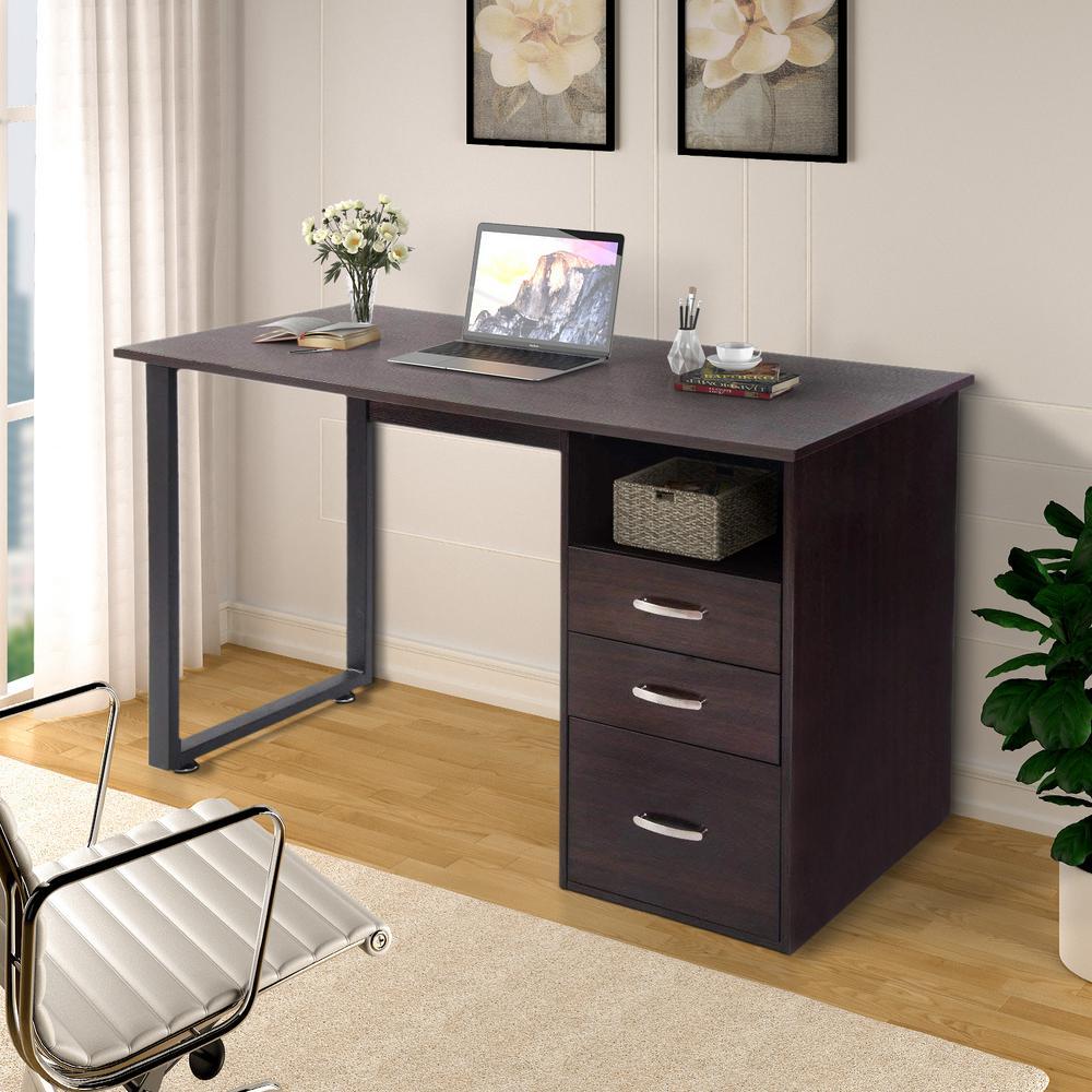 Merax Simple Design Espresso Computer Desk With Cabinet