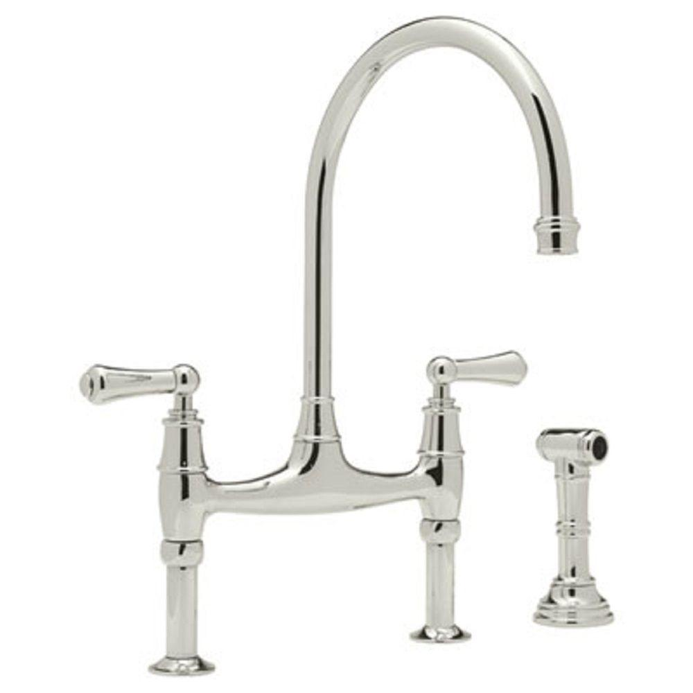 Great Rohl Perrin And Rowe 2 Handle Bridge Kitchen Faucet In Polished Nickel