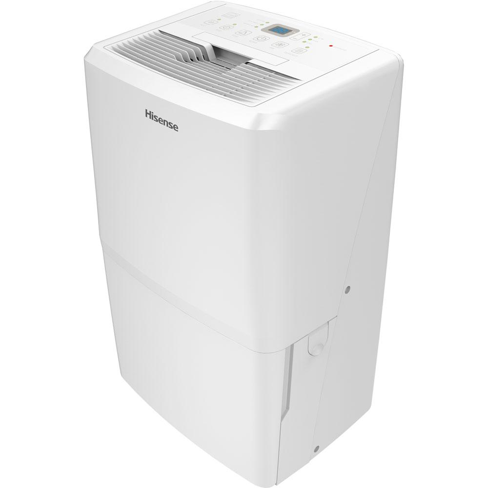 Hisense 70-Pint Dehumidifier with Bucket, Whites Affordable and efficient, the Hisense 70-pint dehumidifier is designed to remove 70 pints of damaging moisture per day from indoor spaces up to 1500 sq. ft. 3 operating modes (auto dry, continuous, and manual) make this unit a versatile choice. During the dehumidification process, water accumulates in the 13.7-pint water tank or is continuously emptied into a low-level drain using a standard garden hose (hose not included). Additional features include a programmable 24-hour on/off timer, adjustable humidistat, and full-tank alert/shutoff. Color: Whites.
