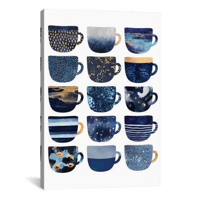 """Pretty Blue Coffee Cups I"" by Elisabeth Fredriksson Canvas Wall Art"