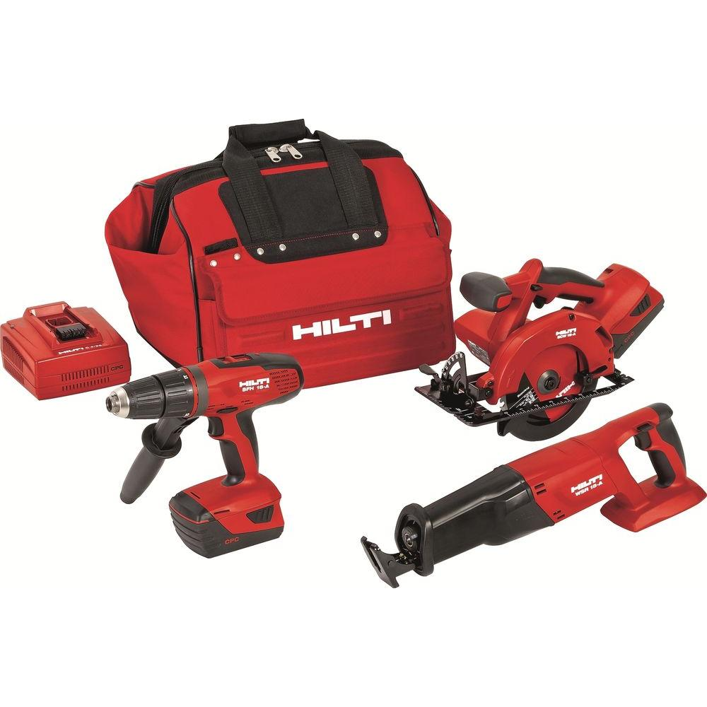 Hilti 18-Volt Lithium-Ion Cordless Hammer Drill Driver/Reciprocating Saw/Circular Saw Combo Kit (3-Tool)