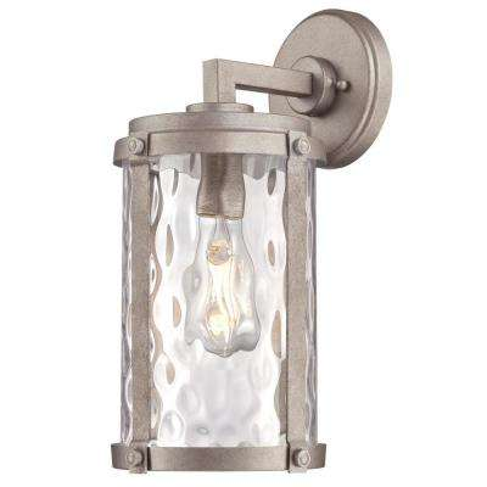 Armin 1-Light Weathered Steel Outdoor Wall Mount Lantern