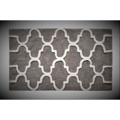 Bath Rug Cotton 34 in. x 21 in. Latex Spray Non-Skid Backing Gray/White Color Geometric Pattern Machine Washable