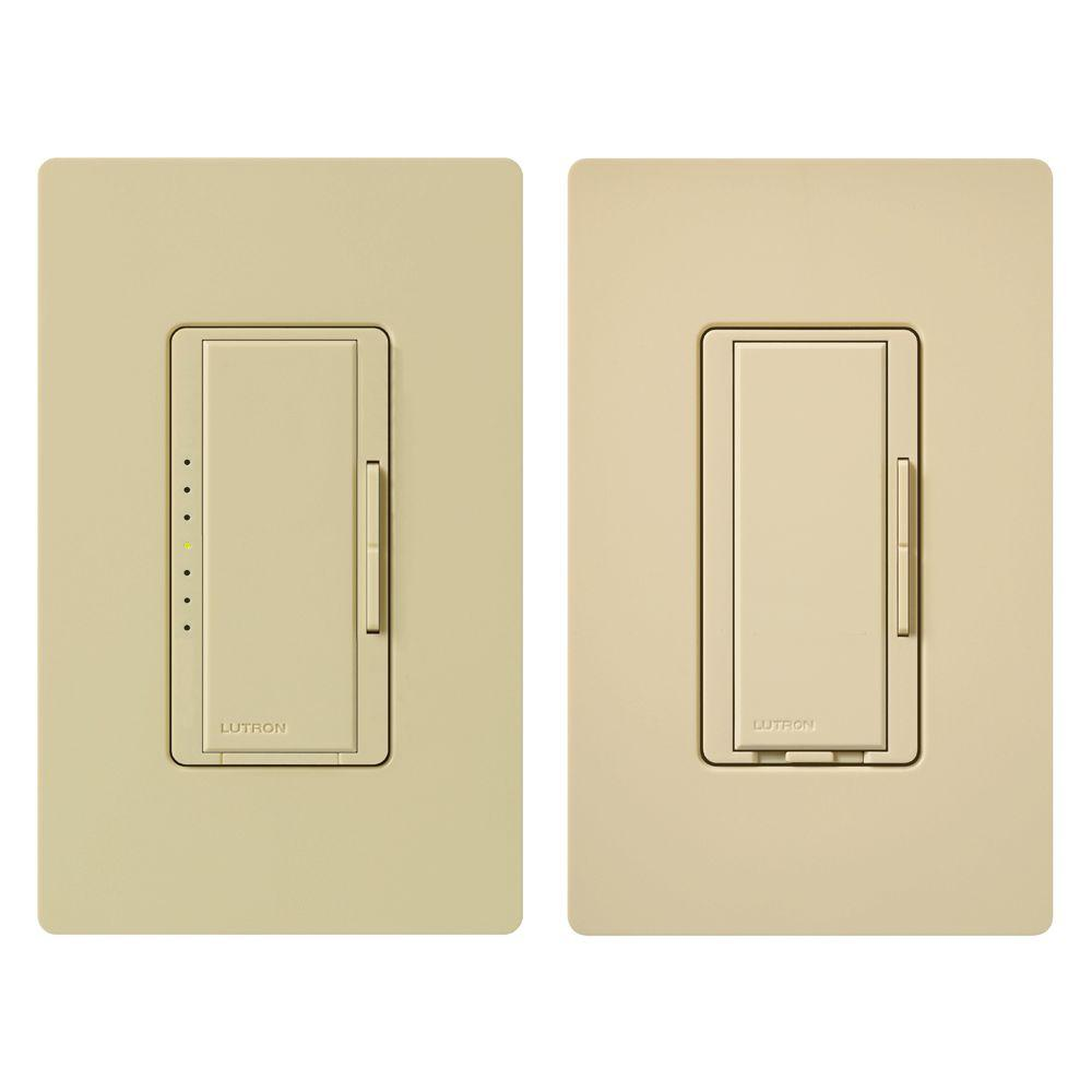 Lutron Maestro Fan Control and Light Dimmer Kit for Incandescent and Halogen, Single-Pole, Ivory
