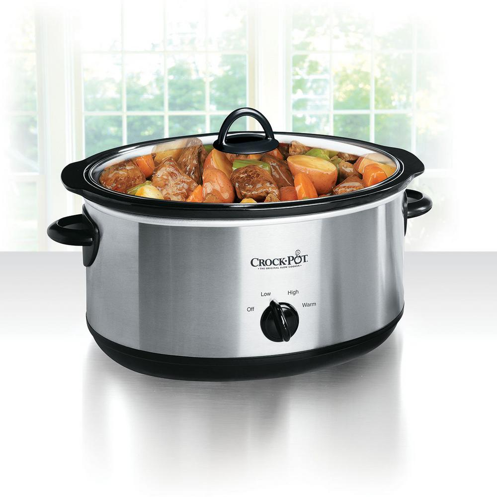 CROCK-POT 8 Qt. Manual Slow Cooker in Stainless Steel, Bl...