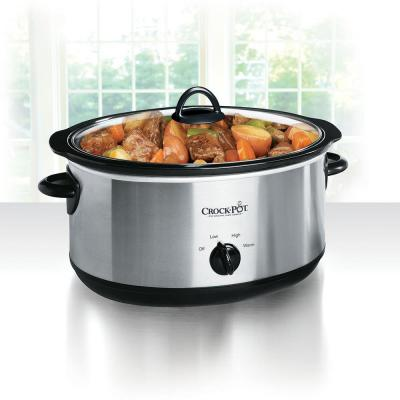 8 Qt. Black Stainless Steel Manual Slow Cooker with Glass Lid and Keep Warm Setting