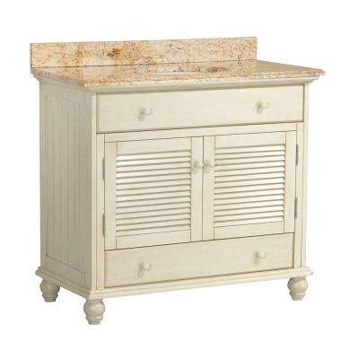 Cottage 37 in. W x 22 in. D Vanity in Antique White with Vanity Top and Stone Effects in Tuscan Sun