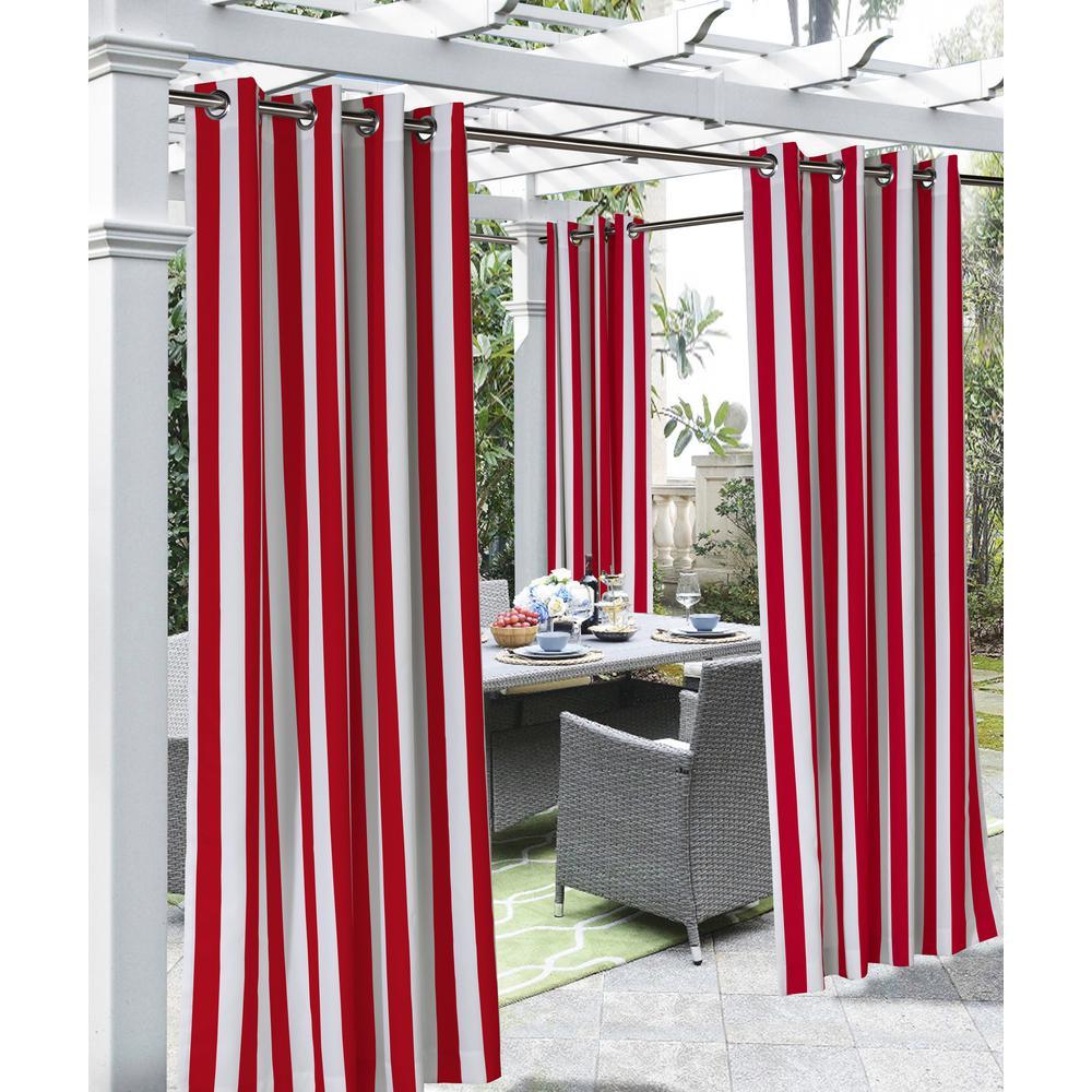 Coastal Stripe Red Indoor - Outdoor Light Filtering Window Panel - 50 in. W x 108 in. L