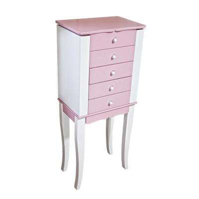 Louisa Girl's Pink Wooden Jewelry Armoire