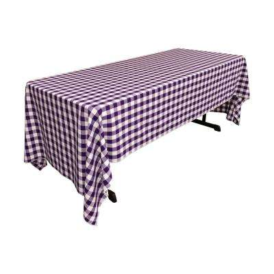 60 in. x 120 in. White and Purple Polyester Gingham Checkered Rectangular Tablecloth