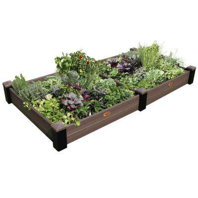 48 in. x 91 in. x 10 in. Maintenance Free Black and Walnut Vinyl Raised Garden Bed