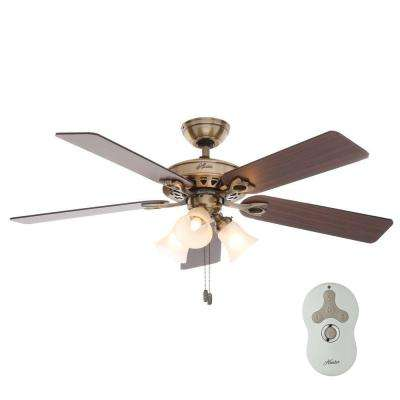 Sontera 52 in. Indoor Antique Brass Ceiling Fan with Remote