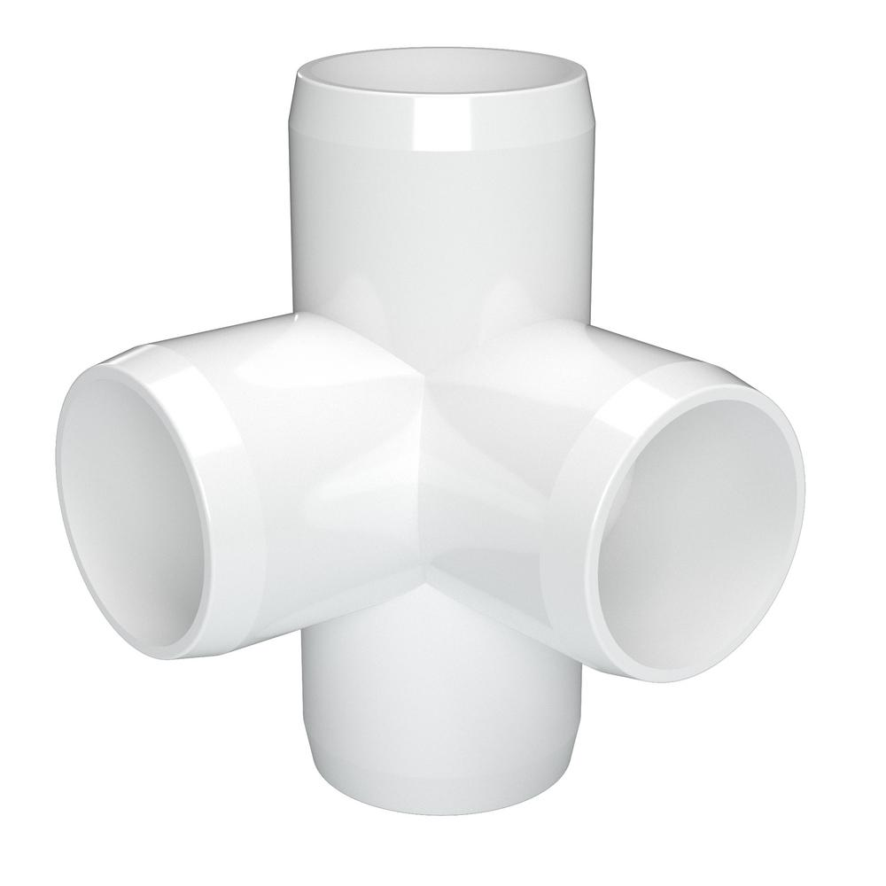 Pack of 8 3//4 Size Furniture Grade FORMUFIT F0344WT-WH-8 4-Way Tee PVC Fitting White
