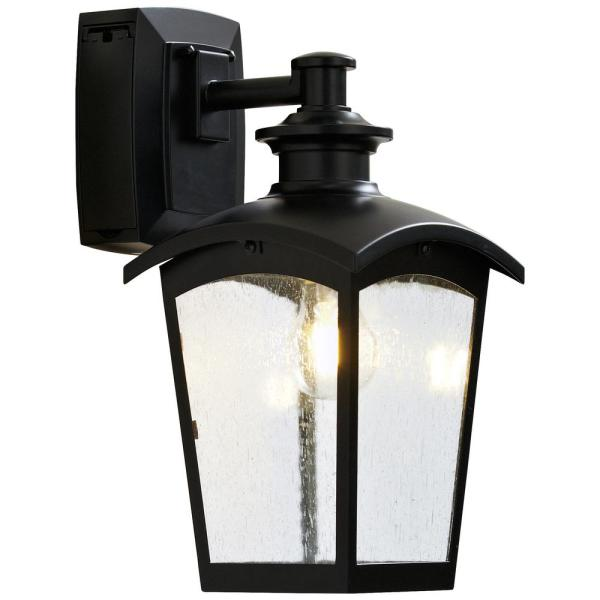 Lantern Sconce With Gfci Black Md